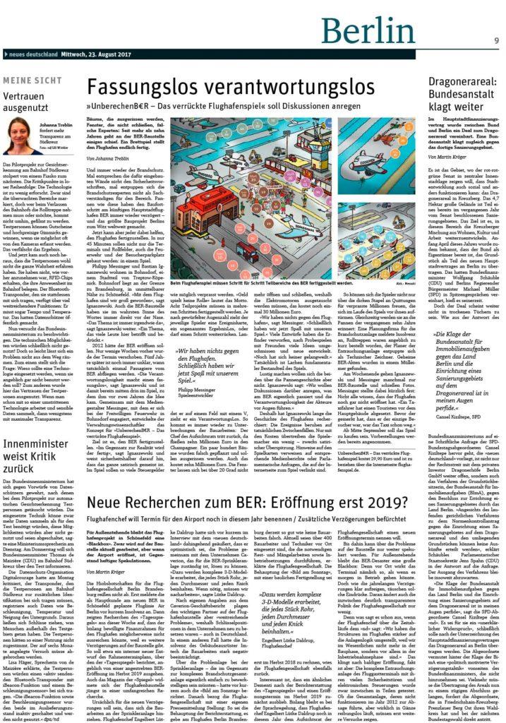 2017-08-23 Neues Deutschland Fassungslos verantwortungslos