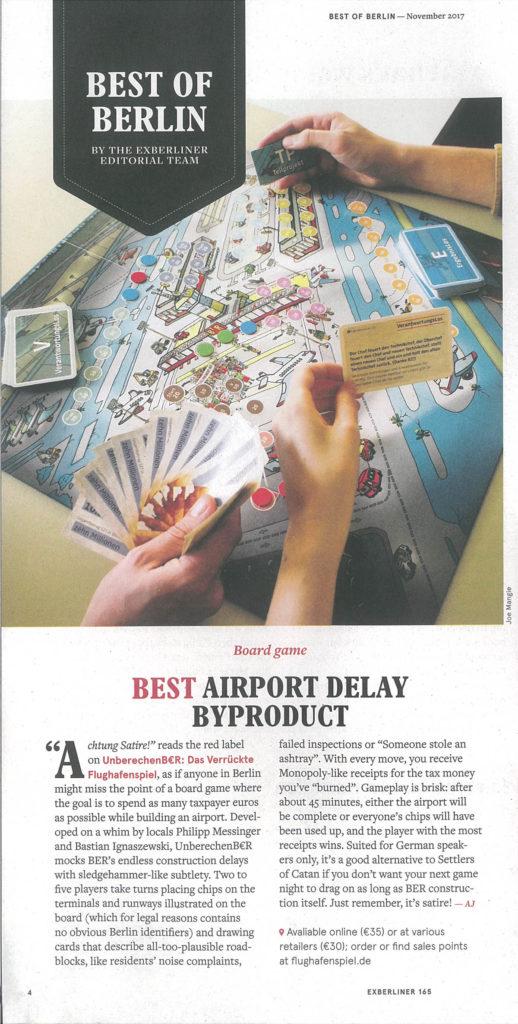 Flughafenspiel in der Zeitschrift EXBERLINER. Ausgabe November 2017