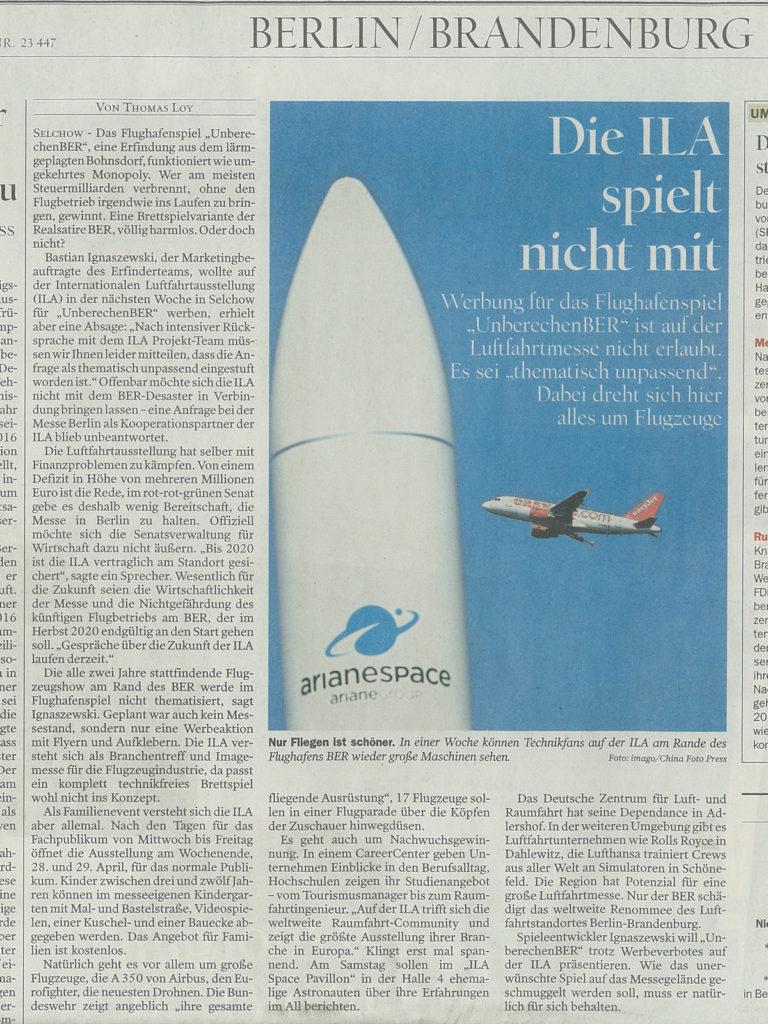 Tagesspiegel – Die ILA spielt nicht mit, 21.04.2018